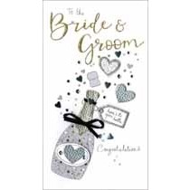 grote luxe trouwkaart - to the bride and groom - champagne