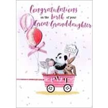 geboortekaart achterkleindochter - congratulations on the birth of your great-granddaughter