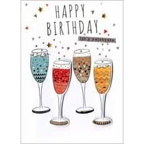 verjaardagskaart - happy birthday let us celebrate - champagne