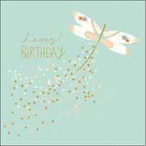 verjaardagskaart woodmansterne  - happy birthday - libelle