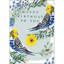 verjaardagskaart woodmansterne pink - happy birthday to you - parkieten vogels