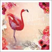 verjaardagskaart woodmansterne esprit -  fabulous birthday - flamingo