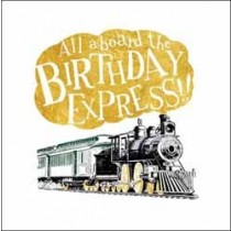 verjaardagskaart woodmansterne - all aboard the birthday express! - stoomtrein