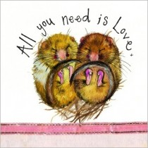 wenskaart alex clark - all you need is love x - 2 muizen