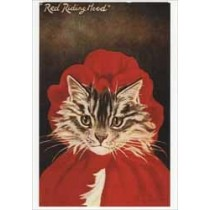 kerstkaart - retro ansichtkaart  - red riding hood - kat in  kerstpak