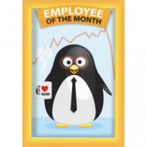 grote ansichtkaart met envelop - employee of the month - pinguin