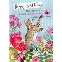 verjaardagskaart floral fancy - happy birthday wishing you a day filled with purrfect little moments