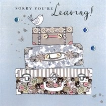 luxe wenskaart - sorry you are leaving - koffers