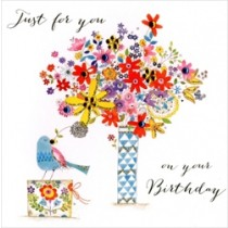 verjaardagskaart - just for you on your birthday - bloemen