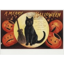 a merry halloween - retro ansichtkaart  - for ways that are dark and tricks that are vain watch out!