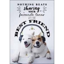 wenskaart no kidding - nothing beats sharing you favourite tunes with your best friend
