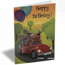 verjaardagskaart - happy birthday - hond in auto