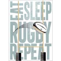 verjaardagskaart - eat sleep rugby repeat