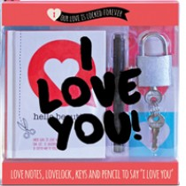 love lock cadeaubox - hangslotje - 20 love notes - watervaste stift - I love you