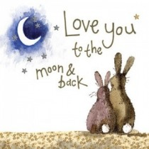 wenskaart alex clark - love you to the moon and back - konijnen