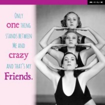 Only one thing stands between me and crazy and that is my friends. - M.I.L.K.
