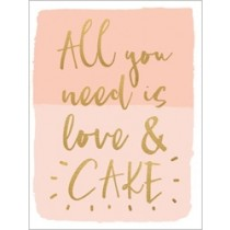 wenskaart  piano small notecards - all you need is love and cake