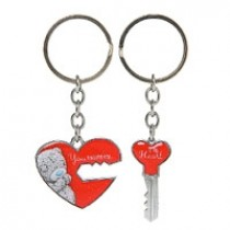 2 metalen sleutelhangers me to you - you hold the key ... to my heart - hart en sleutel