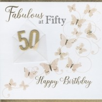 50 jaar - luxe verjaardagskaart - fabulous at fifty happy birthday