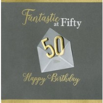 50 jaar - luxe verjaardagskaart - fantastic at fifty happy birthday