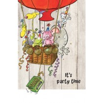 felicitatiekaart - it is party time - luchtballon en bier