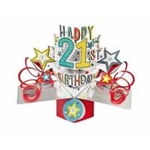 21 jaar - 3D kaart - pop ups - happy 21st birthday