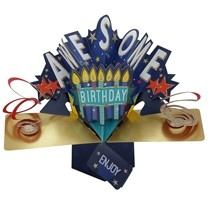 3D verjaardagskaart - pop ups - awesome birthday - kaarsjes