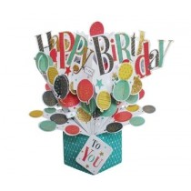 3D verjaardagskaart - pop ups - happy birthday to you - ballonnen