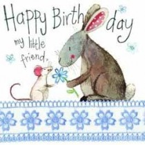 verjaardagskaart alex clark - happy birthday my little friend - muis en konijn