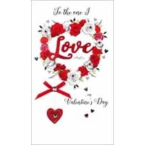 grote luxe valentijnskaart - to the one I love on valentines day - hart van rozen