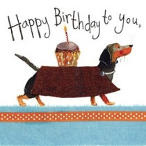 verjaardagskaart alex clark - happy birthday to you - teckel met cupcake