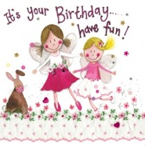 verjaardagskaart alex clark - it is your birthday have fun! - meisjes en konijn