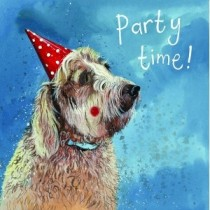 verjaardagskaart alex clark - party time - hond