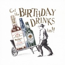 verjaardagskaart woodmansterne - get the birthday drinks in!