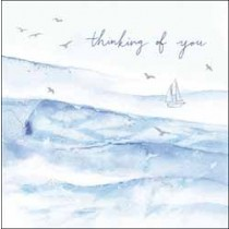 wenskaart woodmansterne - thinking of you - zeilboot