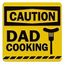 tinnen magneet - caution dad cooking