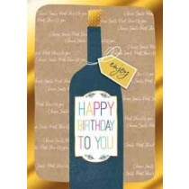 verjaardagskaart - happy birthday to you - fles wijn