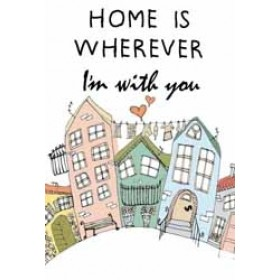 wenskaart mouse & pen - home is wherever i am with you