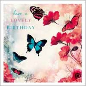 verjaardagskaart woodmansterne esprit - have a lovely birthday - vlinders en rozen