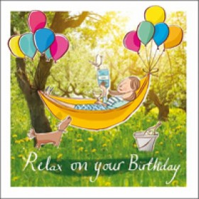 verjaardagskaart woodmansterne - relax on your birthday - hangmat in tuin