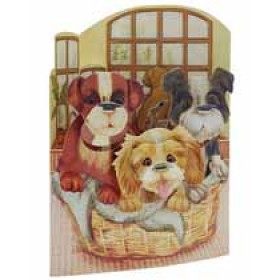 3D kaart - swing cards - puppies in hondenmand
