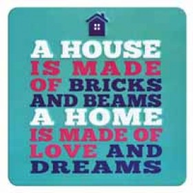 tinnen magneet - a home is made of love and dreams