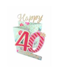 40 jaar - 3d verjaardagskaart cutting edge - happy 40th birthday - roze