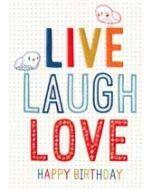 verjaardagskaart inspired - LIVE, LAUGH LOVE Happy Birthday