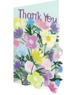 laser gesneden wenskaart roger la borde - thank you - bloemen