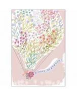 verjaardagskaart woodmansterne pink - happy birthday - luchtballon met bloemenprint