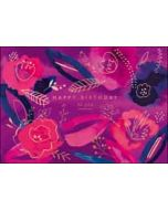 verjaardagskaart woodmansterne flamingo - happy birthday to you - paars