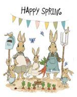 wenskaart mouse & pen - happy spring - konijnen - fijne lente