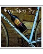 vaderdagkaart woodmansterne - happy father's day - fiets en wijn