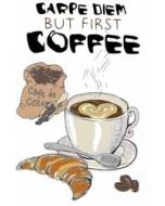 wenskaart mouse & pen - carpe diem but first coffee